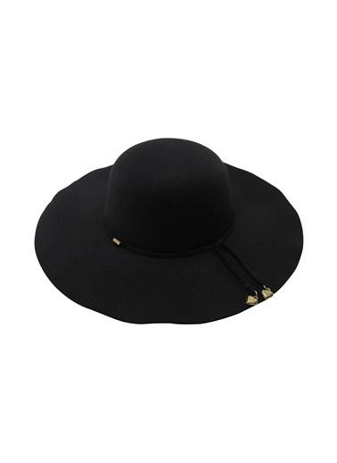 Laslusa İçten Ayarlanabilir Keçe Geniş Kenar Şapka Siyah